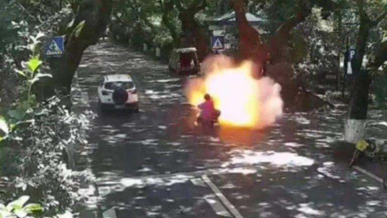 A Chinese father and daughter are in critical condition after e-bike they were riding explodes